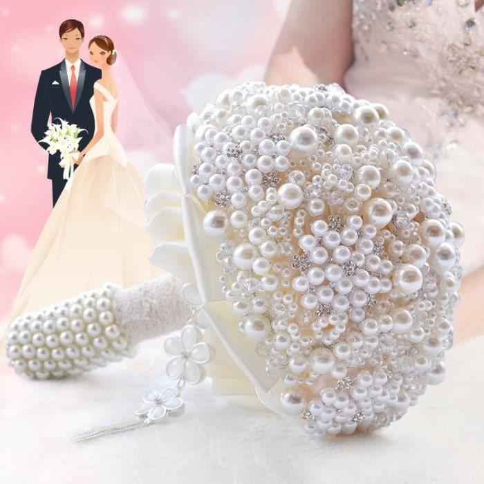 BOUQUET MARIÉE TISSU BLANC boule de LUXE de perles Dia. 20cm bouquet de