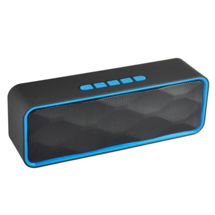1pc Haut-parleur Stéréo Extérieur Portable Sans Fil Bluetooth Basse Bleu