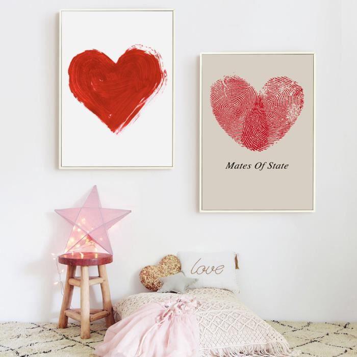 Peinture En Toile Du0027art Murale En Forme De Coeur Rouge Pour Chambre à  Coucher Sans Cadre 40x60cmx2p(Unframed)