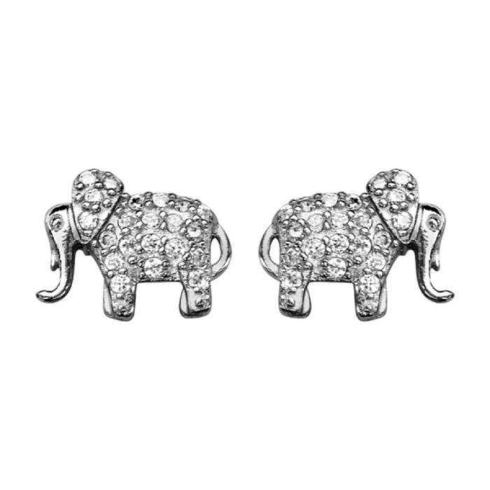 Boucles doreilles Argent 925 Eléphant avec Zirconium Serti
