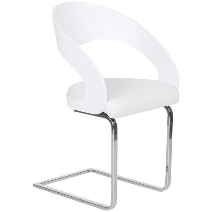 Chaise Moderne Kira Pour Salle A Manger En Similicuir Blanc Casse