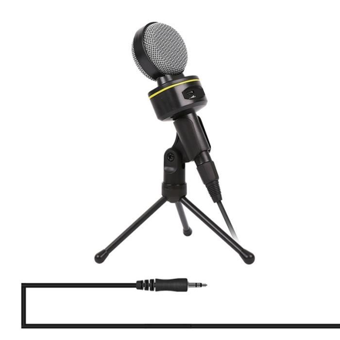 (#144) Professional Condenser Sound Recording Microphone With Tripod Holder, Cable Length: 2.0m, Compatible Pc(black)