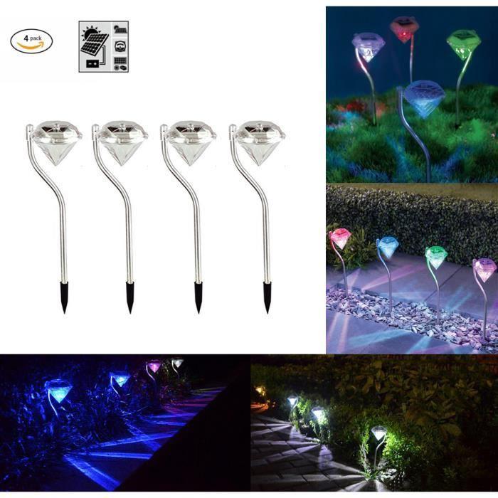 Lot de 4 Lampe Solaire Jardin, LED lampe exterieur solaire, Lampe ...