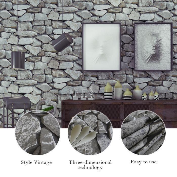 Kinlo 10m 0 53m Papier Peint 3d Pierre Gris Claire En Pvc Wall