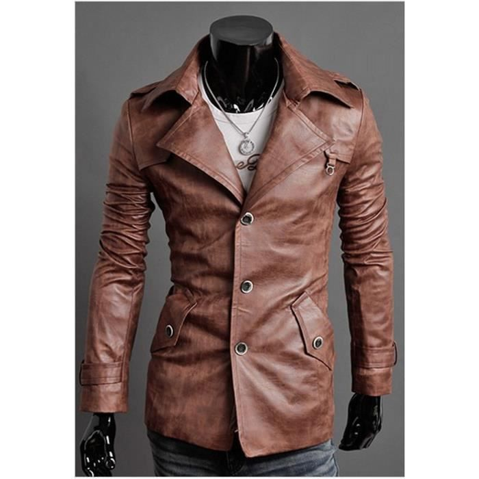 Veste trench cuir homme