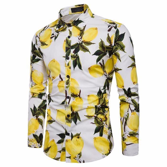 Chemise à manches longues à manches longues pour hommes@blanc