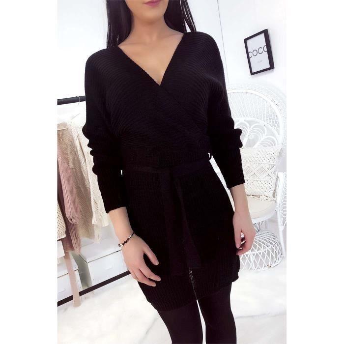 Avec Noir Wear Robe Croisé Ceinture Line Pull Miss m0OPnywvN8
