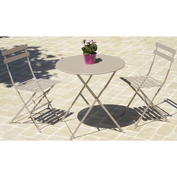 Table de jardin ronde coloris taupe ( chaises non inclues ) - Dim ...