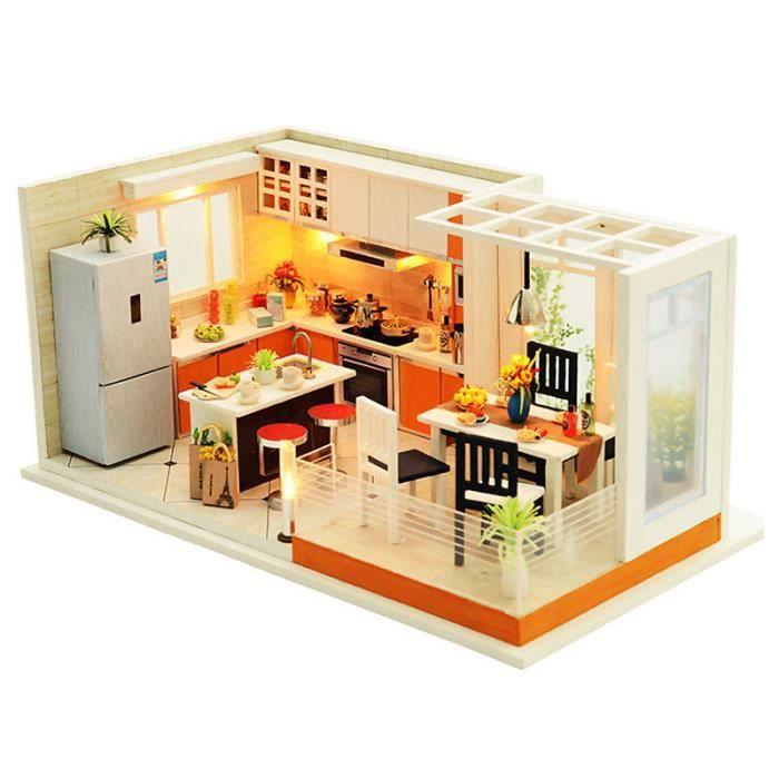 Meubles Modernes De Maison De Poupee De Cuisines Modernes Miniature Diy  Maison De Poupee Maison De Poupee Miniature Jouets En Bois