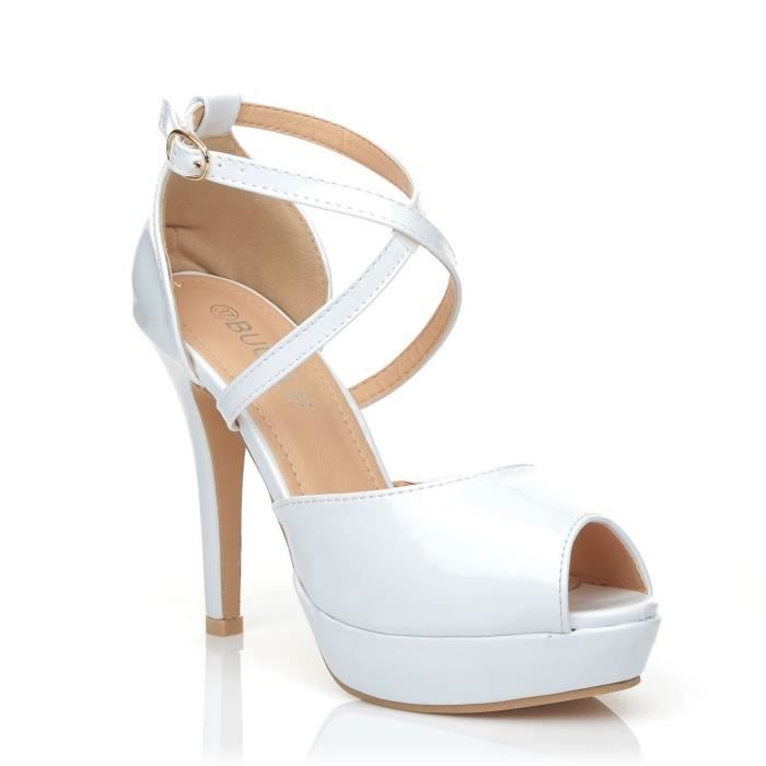 Croix Plate Brevet Pu Sandals Peep forme Cuir Haute 3hgedt 38 Blanche Talons Taille Toe EYIxfwdq