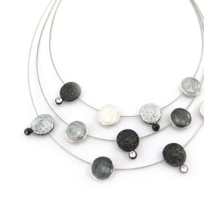 Collier Créateur Sissi noir gris