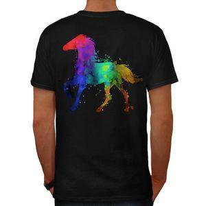 db0bd8e0f Éclaboussure Cheval Peindre Colorant Couleur Men S-5XL T-shirt à col ...