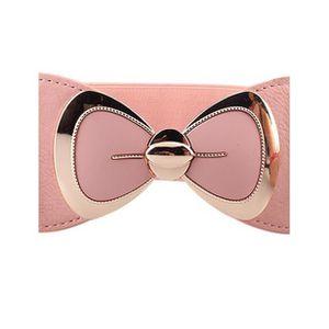 2dfdf9a3947 dedasing® femme Mode bowknot Boucle élastique large ceinture élastique  ceinture Rose