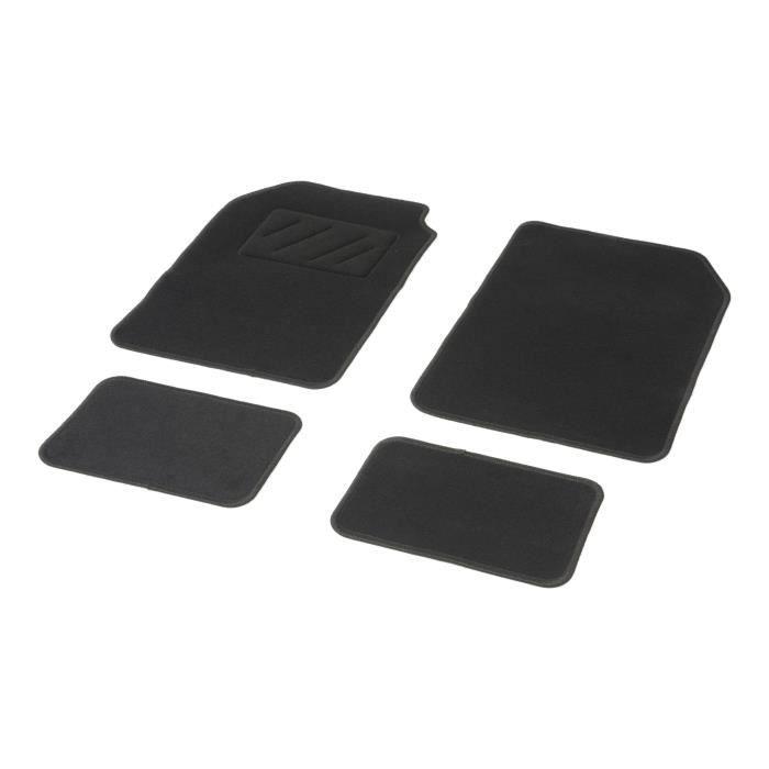 DBS Uno Jeu de 4 Tapis Moquette Aiguilletée 450 gr/m2 Noir