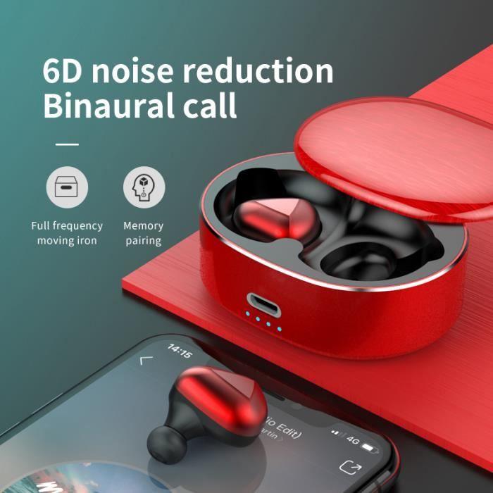 Tws5.0 Écouteur Bluetooth Sans Fil Avec Appel Bilatéral Boîte De Charge Rouge