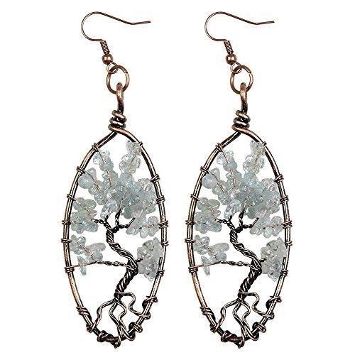Boucles doreilles Dangle Femmes, Arbre de vie Amethyst Lapis Lazuli Rose Quartz Vintage Retro Jewel Chakra DN2US