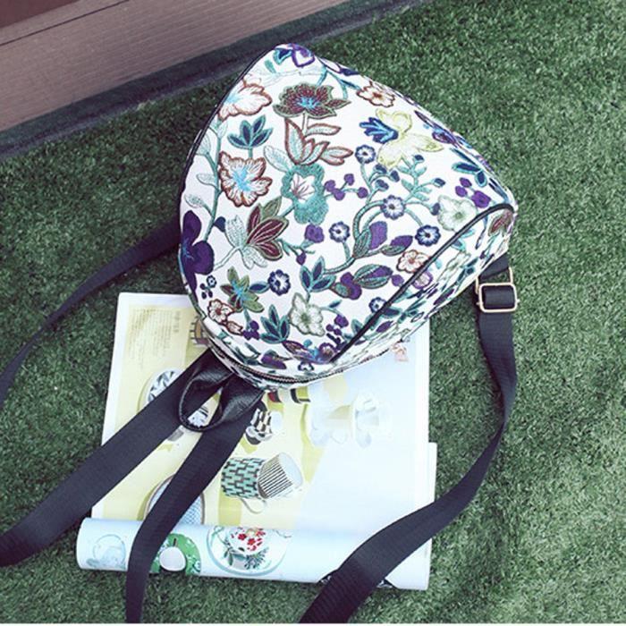 aa98dcf542 ... femme fleur sacs de voyage cartable Violet. SAC À DOS Vintage broderie  ethnique toile sac à dos ...