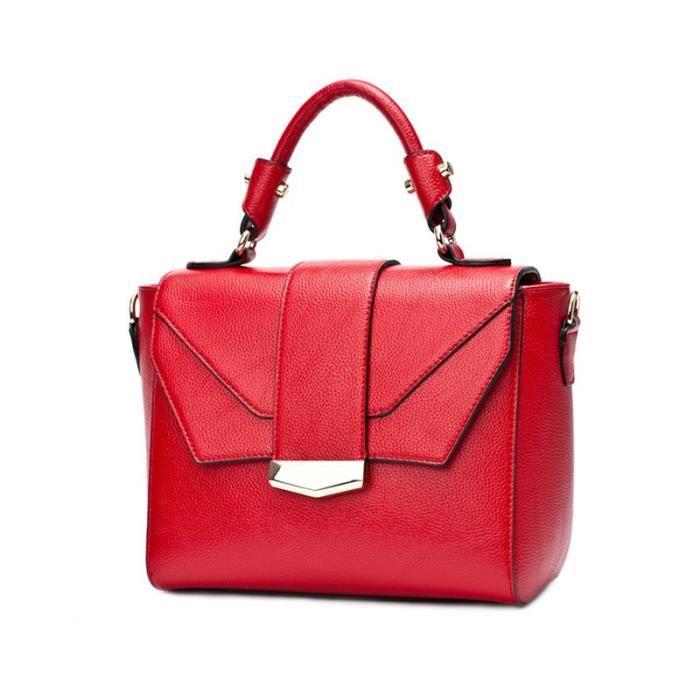 Femmes de Mode Géométrique Style En Cuir Fourre-Tout Sac Poignée Supérieure Sac À Main Polyvalent Épaule Sac Bandoulière Rouge