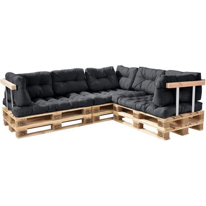 canap de palette euro 5 si ge avec coussins gris fonc kit compl te incl dossier et appuie. Black Bedroom Furniture Sets. Home Design Ideas