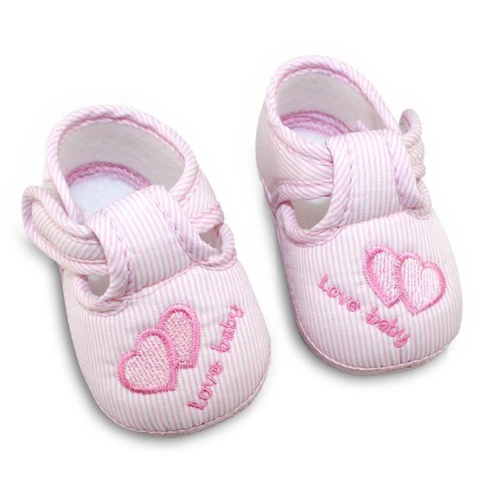 chaussures à semelle souple pour enfant boucle rose (taille: 2)