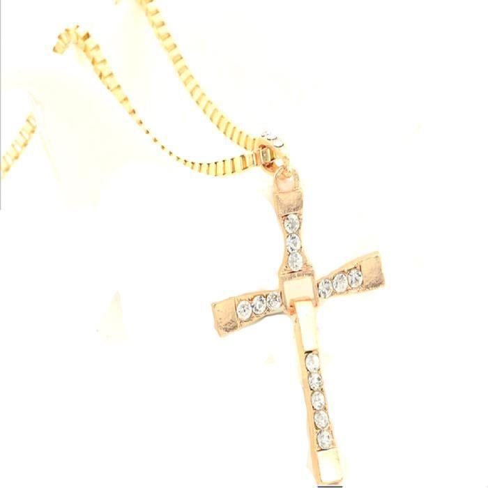 16f62c636 Bijoux Déclaration Punk Collier tendance Croix collier en cristal ...