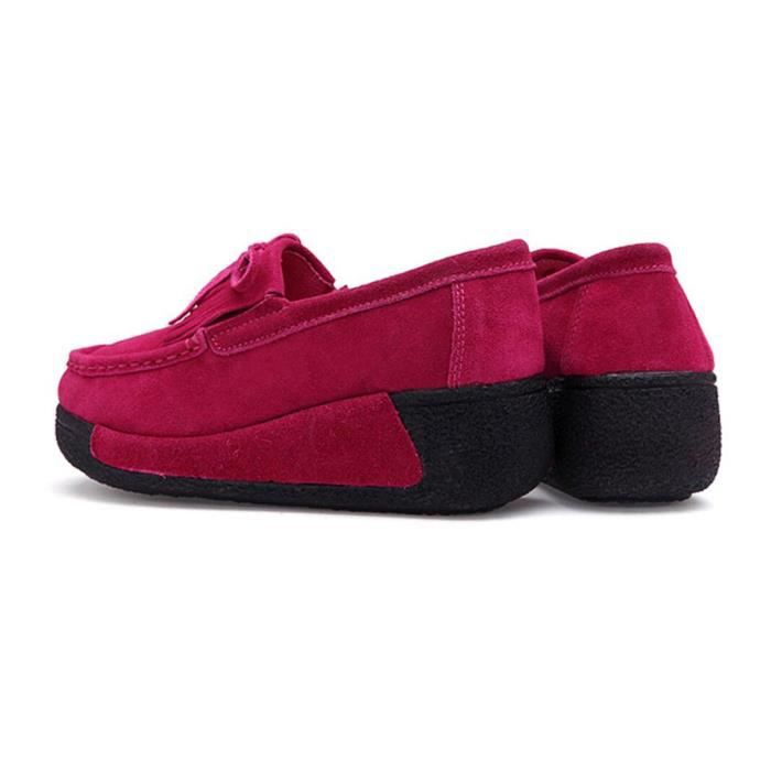 Pure Color Round Chaussures Toe plate forme f minine avec bowknot
