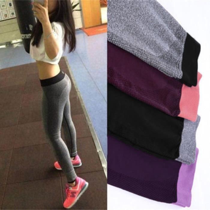 Femme Legging Jambière Pantalon Yoga Gym Collant Moulant Sport Fitness  Extensible f1553696fe4