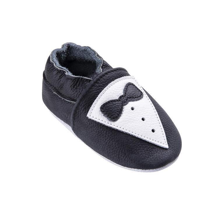 tout neuf 3be9d 060f9 Chaussons Bébé Cuir Souple Bébé Et Bambin Chaussures Premiers Pas Cuir  Souple Bébé Monsieur noir Patterns