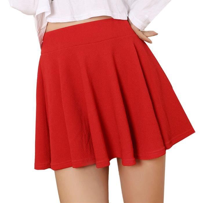 801f849d91d6be Femmes Lady taille haute patineuse évasée plissée courte mini jupe jupes  jupes@rouge