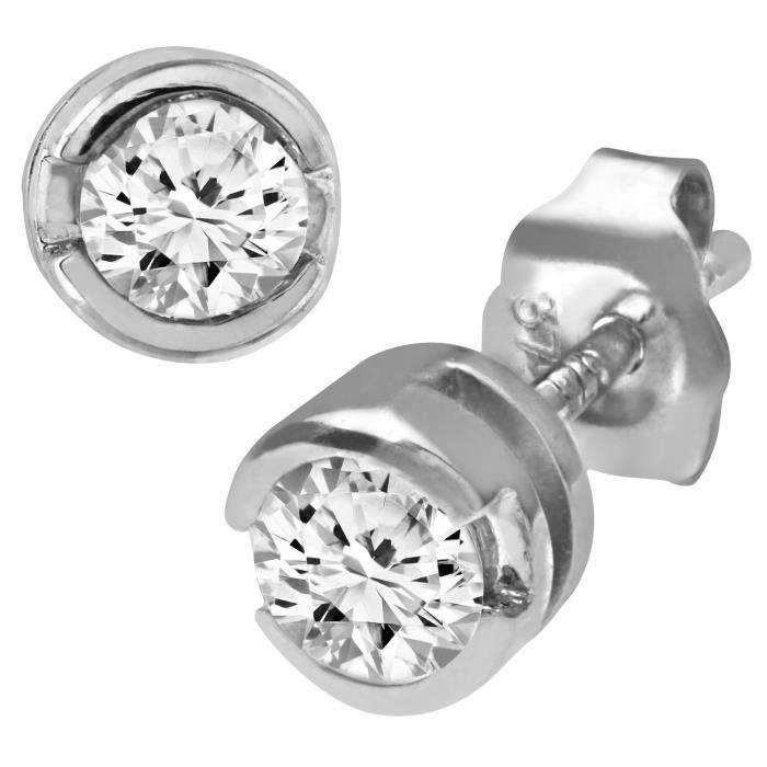 Revoni - Boucles d'oreilles en or blanc 9 carats et diamants 0,33 carat - REVCDPE01572W