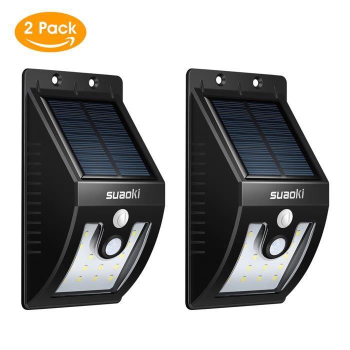 Paire Applique Exterieur Suaoki LED Solaire Lampe Murale De - Eclairage exterieur detecteur automatique
