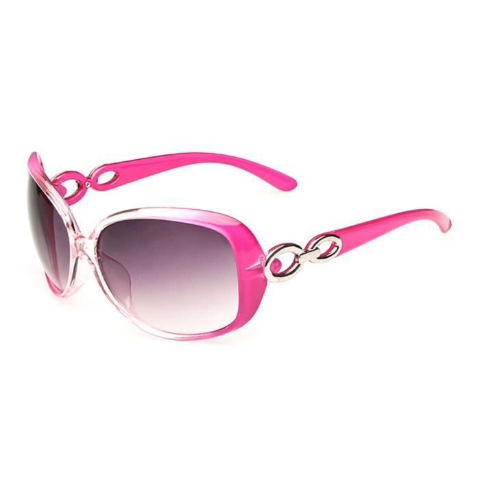 Lunettes de Soleil à la Mode Oversize pour femmes verres Polarisés UV400 et Monture en Plastique Rose