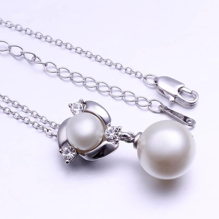 Collier pendentif Plaqué platine 750/00 18K carats Bijou fantaisie haut de gamme Femme Blanc Perle Alba