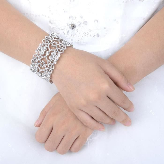 Ever Faith Womens Austrian Crystal Bride Heart Art Deco Elastic Stretch Bracelet Clear D91Z7