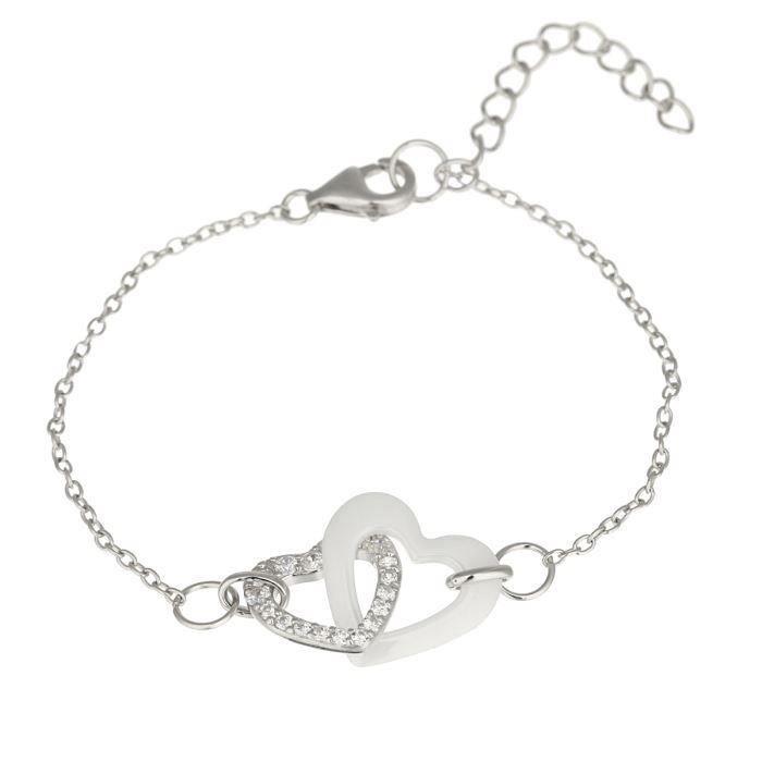 Mes-bijoux.fr - Bracelet Femme en Céramique Blanche et Argent 925-1000 - 7RJ6227WAgv
