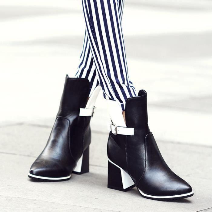 bottes courtes-Femmes de Colourepais Bottes talon cheville Matching