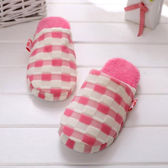 Femmes d'hiver chaussures de maison en intérieur faux fourrure pantoufles chaudes rose