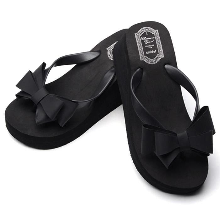 Bowknot Shoes Ladies Summer Platform Flip Flops Thong Wedge Beach Sandals