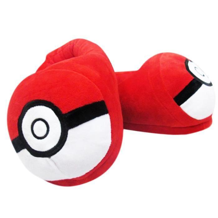 Homme Femme Pantoufles En Peluche Chausson Pokemon Hiver D'intérieur Halloween Cadeaux De Noël Populaire BBJ-XZ138Rouge38