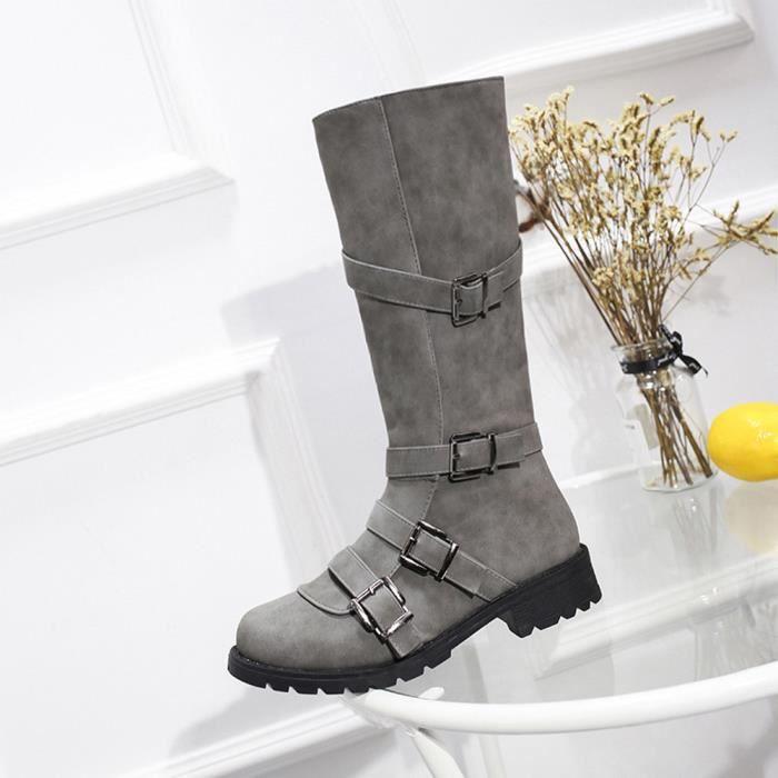 D'hiver Romaine Moto Chaussures Longues Femmes Talkwemot829 Bottes Boucle Cuissardes 1Eqwag