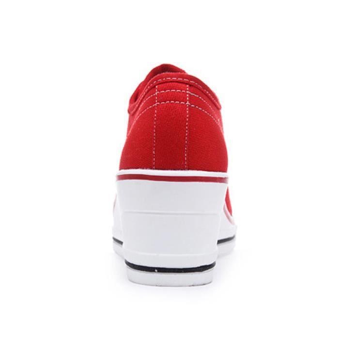 Femme Baskets Mode en Toile Talon Compensé Chaussures de Sport Fermeture Lacets