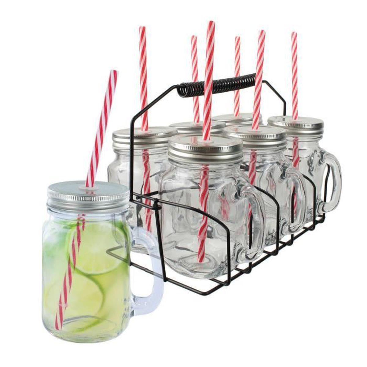 mugs bocaux verres avec anse et paille avec panier achat vente verre cocktail cdiscount. Black Bedroom Furniture Sets. Home Design Ideas