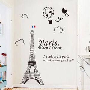 STICKERS Noir Tour Eiffel Pvc Autocollant Mural Stickers Ad