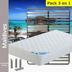 ENSEMBLE LITERIE Maldives - Pack Matelas + AltoZone 140x190 + Pieds