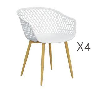 FAUTEUIL Lot de 4 fauteuils 61x56x78 cm blanc et pieds natu
