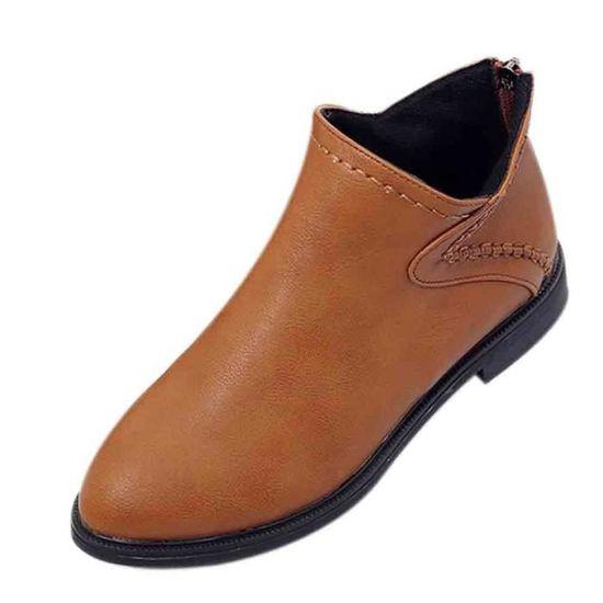 confor2299 Tête Bottes Zip Pointu Femmes Carrée Chaussures Simples Des De Cheville Avec Toe Place qCxUwO1w