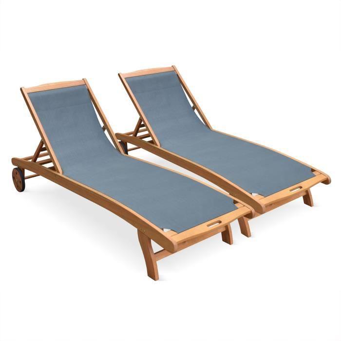 Ensemble de 2 bains de soleil en bois Marbella, transats en ...