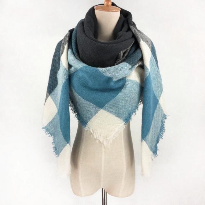 Echarpe Etole Plaid Hiver Grand Carré Femme à Carreaux Bleu   Blanc ... f4cc0357ba9