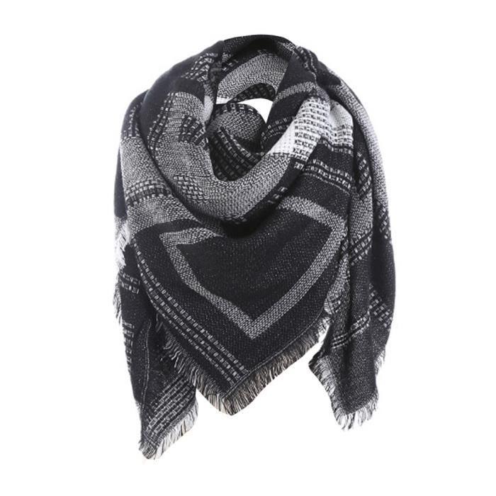 5762d4453469a Femme plaid long Cashmere laine châle écharpe col plaid noir Z1728 ...