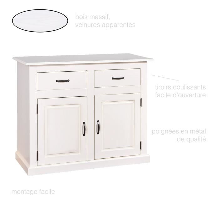 Commode 2 tiroirs 2 portes Commode en pin massif, Commode chambre ...